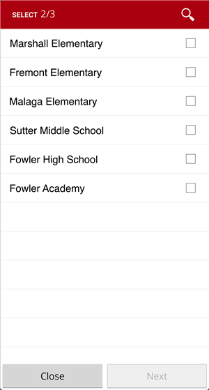 School selection page in Fowler Mobile App